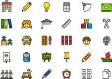 Samling av utbildningssymboler eller symboler Arkivfoto