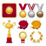 Samling av utmärkelser Arkivbild