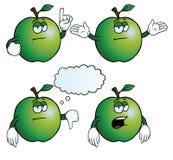 Uttråkad äppleuppsättning Arkivbild