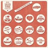 Samling av valentin etiketter för dagtappning, typografisk design Royaltyfri Foto