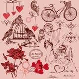 Samling av valentin för tappning dekorativa beståndsdelar för dag Arkivbilder