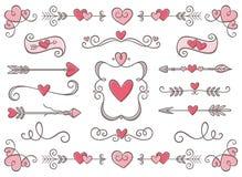 Samling av Valentine Day prydnader Fotografering för Bildbyråer