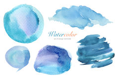 Samling av vattenfärg målad designbeståndsdelbakgrund Arkivfoton