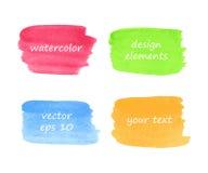 Samling av vattenfärgfläckar Arkivbilder