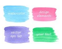 Samling av vattenfärgfläckar Arkivbild