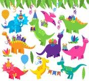Samling av vektorfödelsedagparti eller partidinosaurier Arkivbild