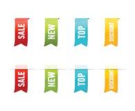 Samling av vektorförsäljningsetiketter, klistermärkear, etiketter på vit bakgrund Arkivfoton