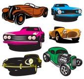 Samling av vektorillustrationen med kulöra klassiska bilar Arkivfoto