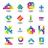 Samling av vektorlogoer av abstrakta enheter Royaltyfri Foto