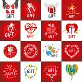 Samling av vektorlogoer för gåvor stock illustrationer