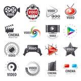 Samling av vektorlogoer för video produktion royaltyfri illustrationer