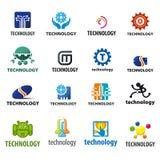 Samling av vektorlogoteknologi stock illustrationer