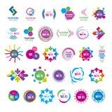 Samling av vektorlogoWi fi royaltyfri illustrationer