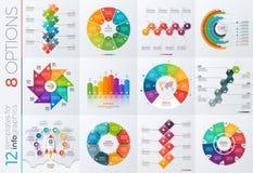 Samling av 12 vektormallar för infographics med 8 alternativ Arkivbilder