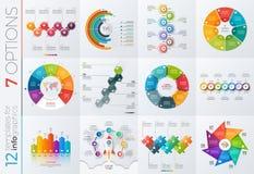 Samling av 12 vektormallar för infographics med 7 alternativ Arkivfoto