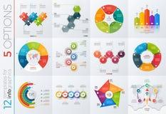 Samling av 12 vektormallar för infographics med 5 alternativ Royaltyfri Fotografi