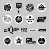 Samling av vektorsymboler av kvalitets- försäkring stock illustrationer