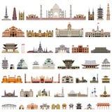 Samling av vektortempel, torn, domkyrkor, pagoder, mausoleer forntida byggnader och annan arkitektonisk monument vektor illustrationer