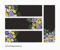 Samling av vertikala och horisontalbanermallar med ursnygga blommande lösa blommor och blommaperennen vektor illustrationer