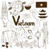 Samling av vietnamesiska symboler stock illustrationer