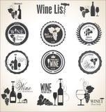 Samling av vinemblem och etiketter Arkivfoton