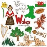 Samling av Wales symboler Arkivfoton