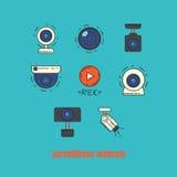 Samling av webcamen, CCTV och symbolen för säkerhetskamera Arkivfoto