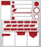 Samling av websiteelements: textask, knapp, baner, textstång, navigeringstång, etikett också vektor för coreldrawillustration Royaltyfri Foto