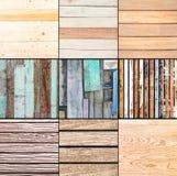 Samling av wood texturbakgrund för nio planka Arkivbild