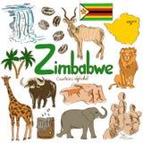 Samling av Zimbabwe symboler Arkivfoton