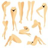 Samling Bild med konturer av spenslig h?rlig kvinnlig fot Olika st?llingar av ben, n?r flickan skulle st?, ligger royaltyfri illustrationer