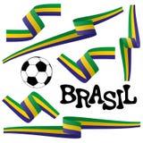 Samling - Brasilien symboler och marknadsföringstillbehör Arkivbilder