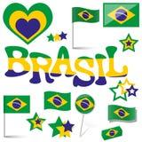Samling - Brasilien symboler och marknadsföringstillbehör Royaltyfri Bild