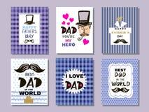 Samling cards6 för dag för fader` s vektor illustrationer