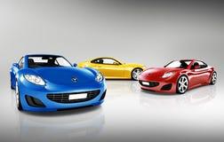 samling 3D av sportbilar Arkivbild