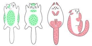 Samling Den försiktiga katten, kan du koppla av för att stryka Det ilskna husdjuret, spänt, kan det inte tryckas på Djurl?gnerna  vektor illustrationer