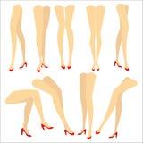 Samling En bild med konturer av spensliga h?rliga kvinnliga ben i r?da h?g-heeled skor Olika st?llingar av ben n?r vektor illustrationer