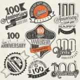 Samling för årsdag för tappningstil hundra vektor illustrationer