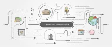 Samling för affärsbanermall med symboler vektor illustrationer