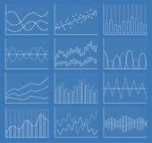 Samling för affärsdiagram Uppsättning av grafer Datavisualization Arkivfoton