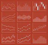 Samling för affärsdiagram Uppsättning av grafer Datavisualization Arkivbilder