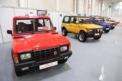 Samling för ARO 10 av epokbilar på på SIAB, Romexpo, Bucharest, Rumänien arkivbilder