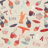 Samling för beståndsdelar för tid för te för modell för tappningvektor sömlös med kakan, kopp, tekanna Vektor Illustrationer