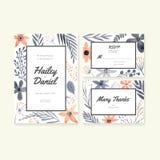 Samling för bröllopkort stock illustrationer