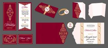 Samling för bröllopkort - meny, stångmeny, inbjudan, tabellkort Royaltyfri Bild