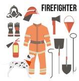 Samling för brandmanbeståndsdeluppsättning brandmanmaskering, hjälm, Royaltyfria Foton