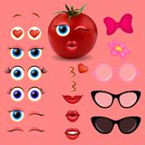 Samling för design för vektor för skapare för tomatflickaemoji royaltyfri illustrationer
