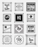 samling för 12 emblem för tappning fyrkantig stock illustrationer
