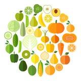 Samling för frukt- och grönsakvektorsymboler Plan modern stil Arkivfoton