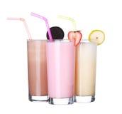 Samling för glass för milkshakechokladanstrykning royaltyfri fotografi